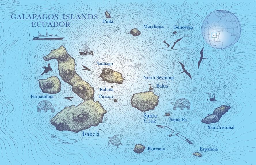 GALAPAGOS IslandsMAP MANTA PUBLICATIONS - Galapagos map